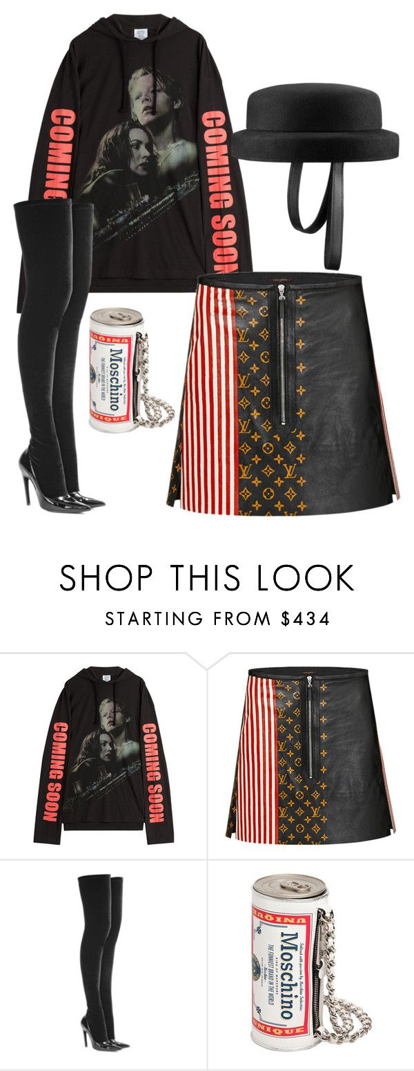 """Untitled #6313"" by stylistbyair ❤ liked on Polyvore featuring Vetements, Louis Vuitton, Chanel, Balenciaga and Moschino"