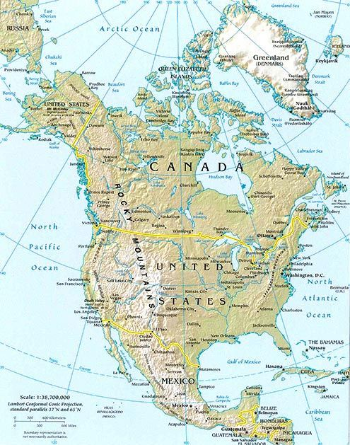 north america topo map | Geography | United states map, America ...