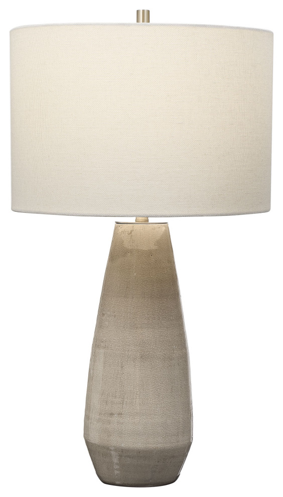 Classic Earth Tones Taupe Gray Ceramic Table Lamp Tapered Cylinder White Elegant Transitional Ta In 2020 Ceramic Table Lamps Grey Ceramics Transitional Table Lamps