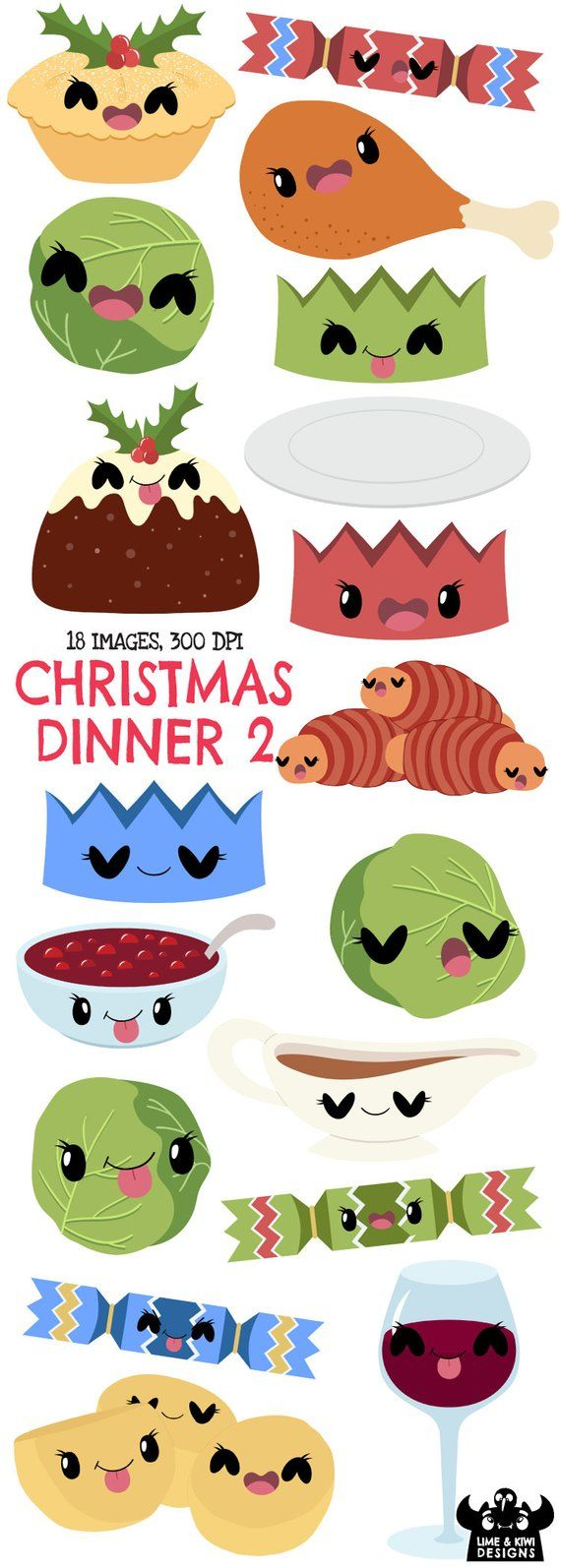 Christmas Dinner Clipart.Kawaii Christmas Dinner 2 Clipart Instant Download Vector