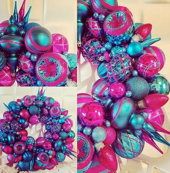 Red Turquoise Not Just For Holiday Decor: Fuschia Pink And Turquoise Blue Christmas Ornament Wreath