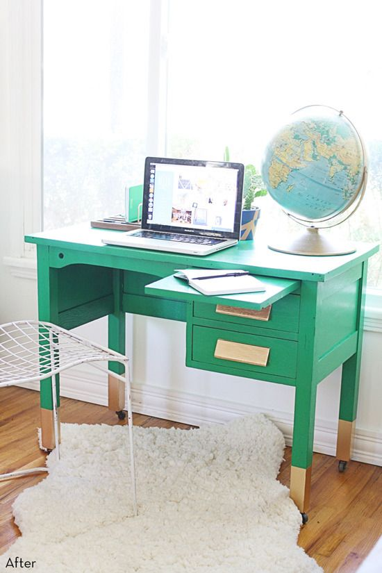 Before And After A Wood Desk Goes Green Wood Desk Repurposed
