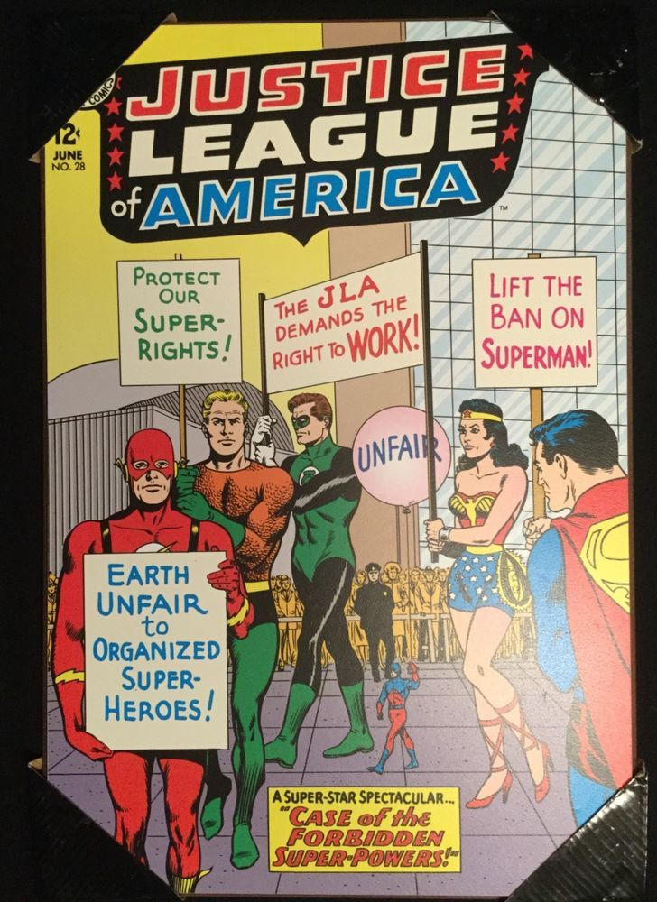 Justice League #28 Wood Wall Art 13x19 Silver Age Flash Green Lantern Superman  sc 1 st  Pinterest & Justice League #28 Wood Wall Art 13x19 Silver Age Flash Green ...