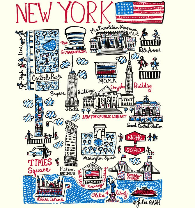 "After a visit to New York, Julia Gash, head designer at Talented, returned home and redrew her design of the city to include more of the amazing architecture she saw at first hand ! With the USA national flag flying over the city of ""NEW YORK"", iconic buildings such as the Empire State Building, Chrysler Building, New York Public Library, Flatiron Building are drawn beautifully and with a child's view of wonder and awe."