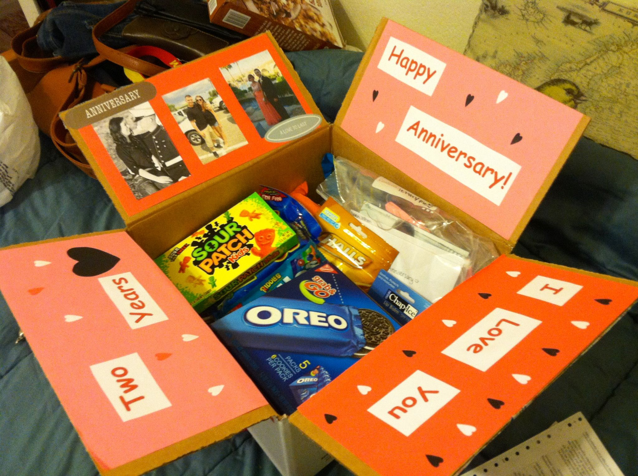 Two year anniversary care package for David I made during ...