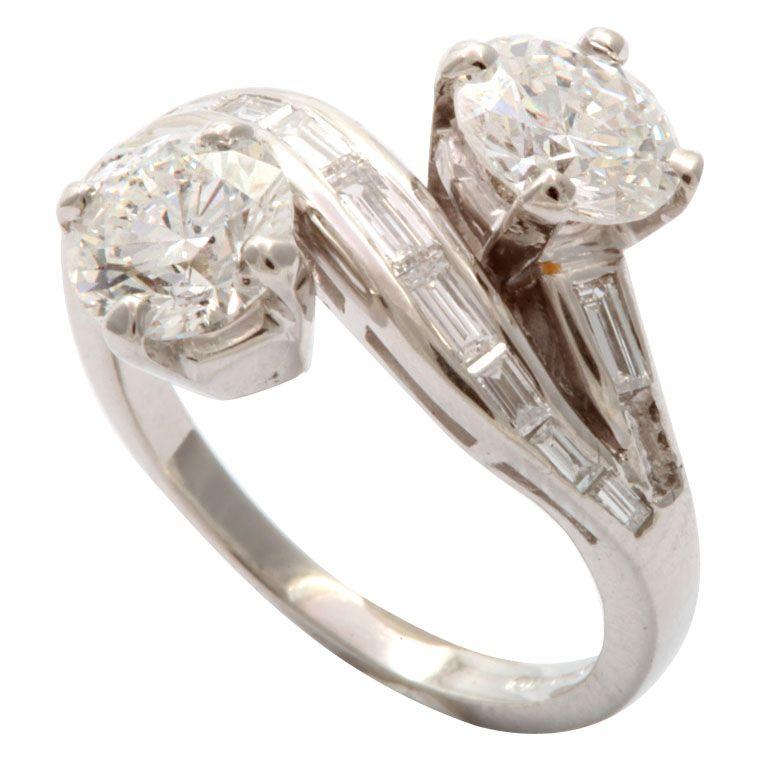 Diamond Platinum By Pass Ring
