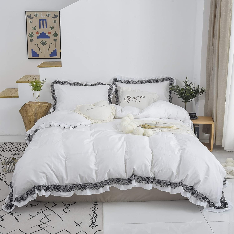 100 Cotton White Duvet Cover Set Black Lace Ruffle
