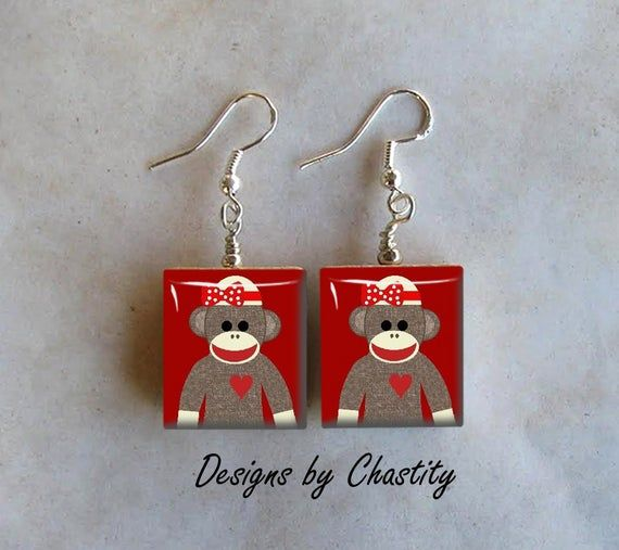 Sock Monkey Girlie Earrings - Really Girlie Sockmonkey #sockmoneky