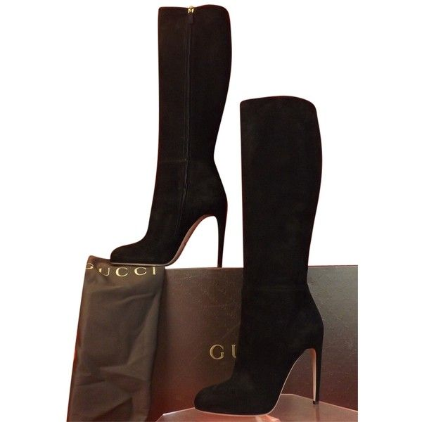32930261fd7 Pre-owned Gucci Suede Goldie Classic Tall Full Zip Platform 40.5 Black.