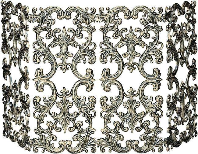 4 Fold Antique Gold Cast Aluminum Screen | Fireplace ...