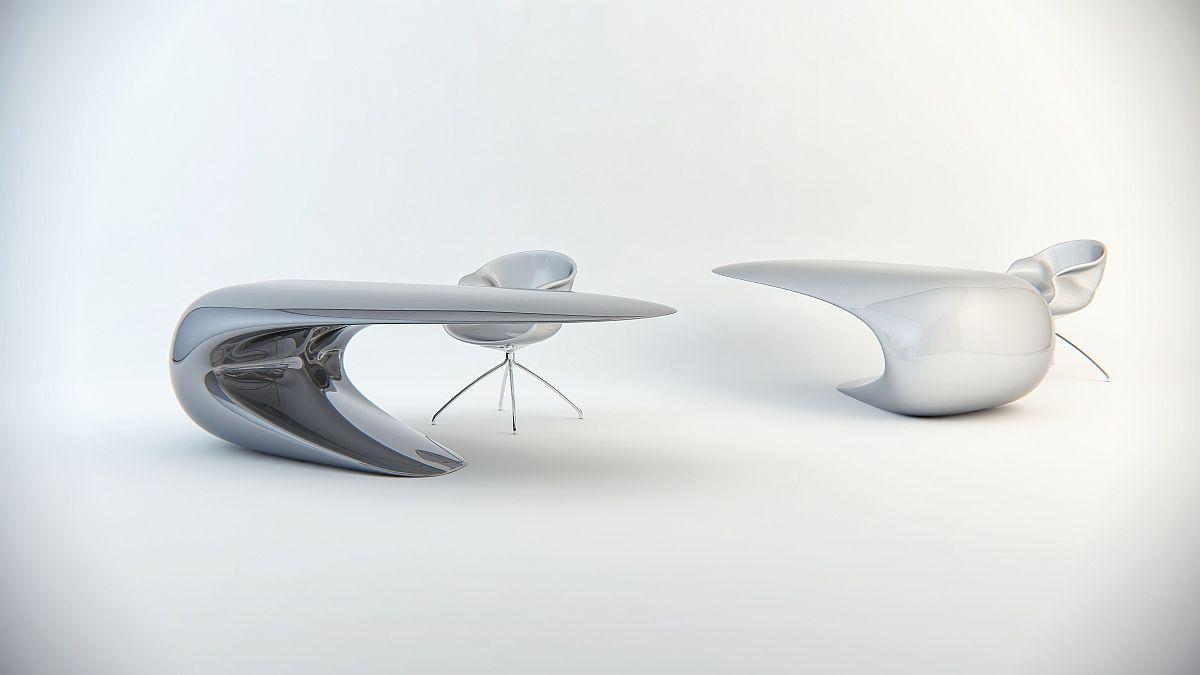 futuristic office desk. Nebbessa By Nuvist 12 Single Continuous Shape Defining Original Desk Design Futuristic Office