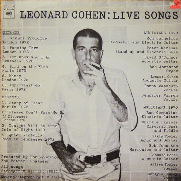 Leonard Cohen - Live Songs at Discogs