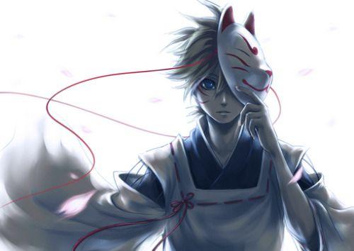 Pin By Deverous Demon On Kitsune Kitsune Mask Anime White Hair Anime Guy