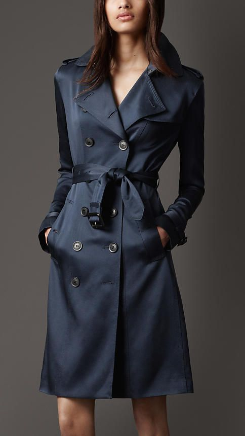 0281a8f98d5ef Burberry Mid-Length Silk Trench Coat in Navy... stunning.