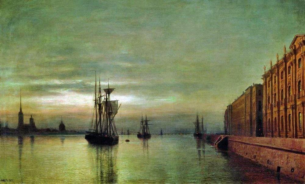 Lev Lagorio - Neva at night (1878)