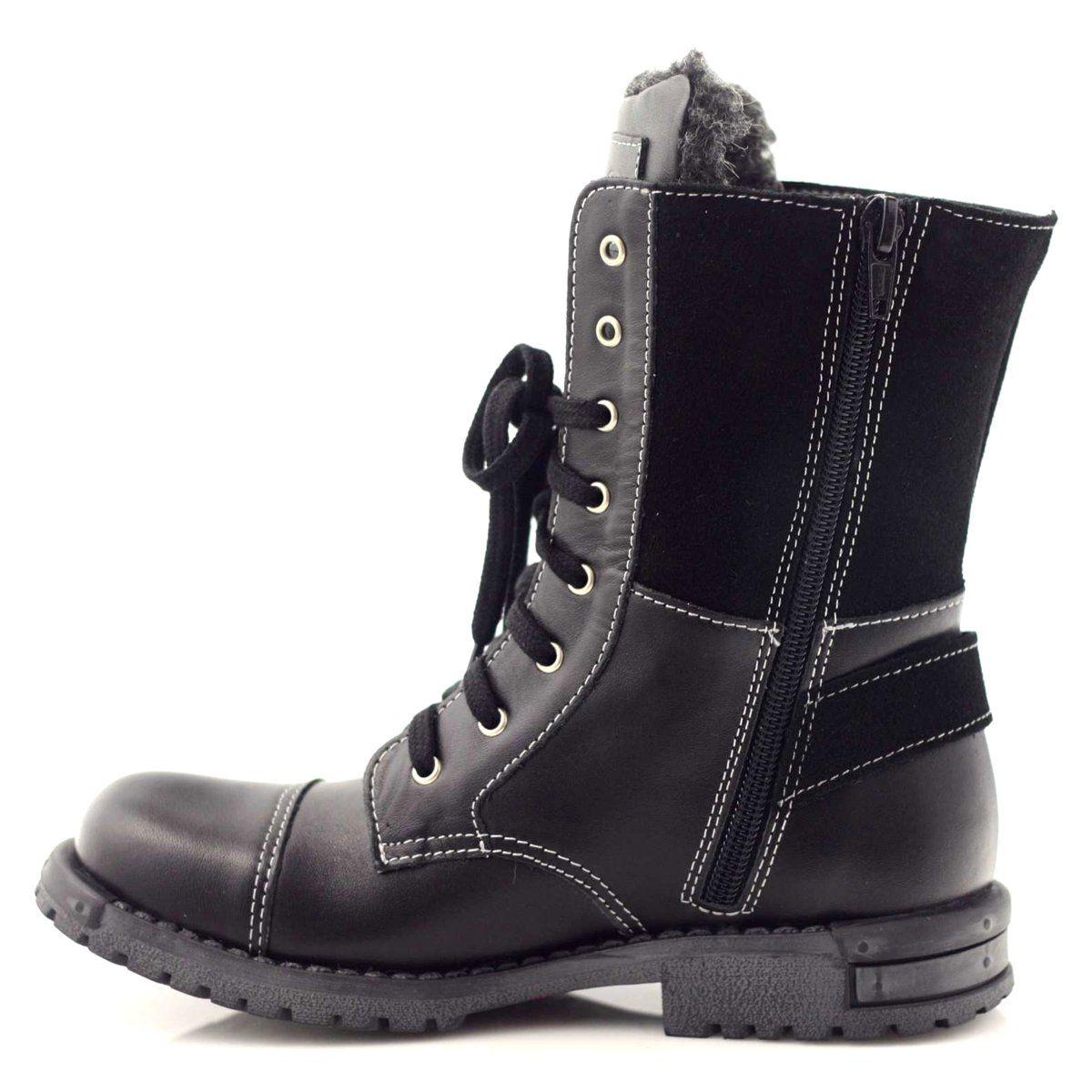 Kozaczki Chlopiece Zarro 931 Czarne Biale Combat Boots Army Boot Boots