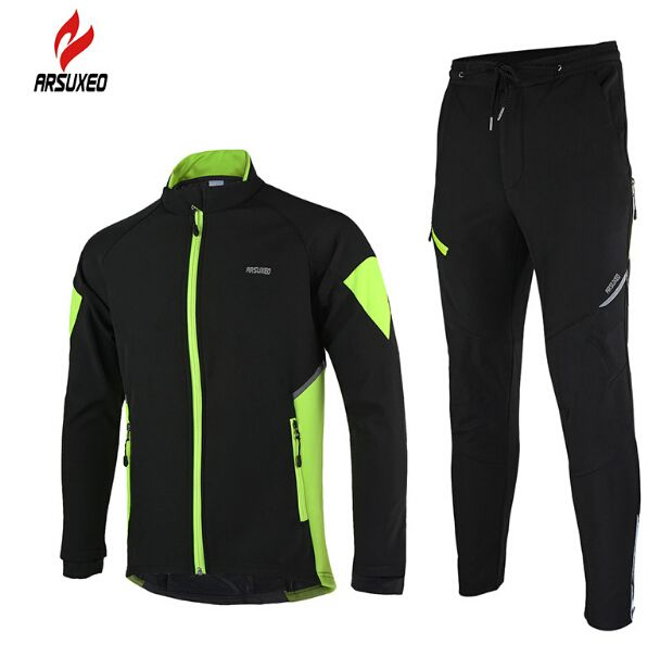 f970d5e94 ARSUXEO Arsuxeo Winter Men s Cycling Jackets Set Long Sleeve Thermal Fleece  Road Mountain Bike MTB Jacket