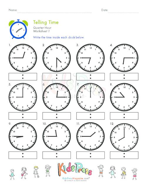 Time to the Quarter-Hour | Education.com