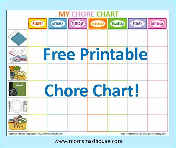 free printable chore chart templates for kids - Onwebioinnovate