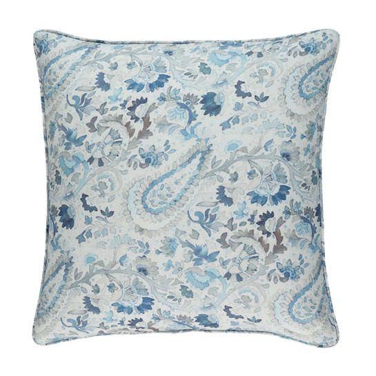 Ines Linen Blue Sham Pine Cone Hill Linen Shams Linen Duvet Covers Printed Linen Fabric