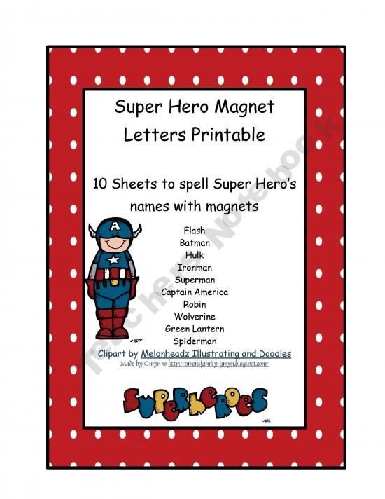 Magnetic Letters Clipart : magnetic, letters, clipart, Superhero, Magnet, Letters, Printables, Preschool, Printables,, Lettering
