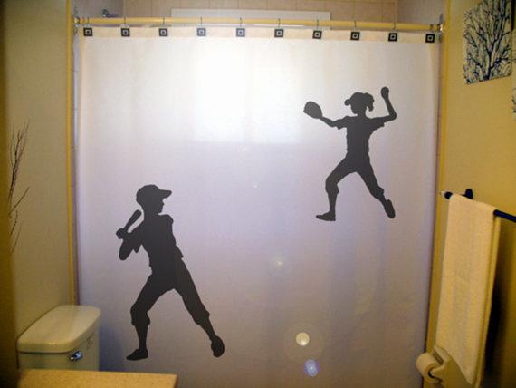 Children Kids Baseball Softball Shower By CustomShowerCurtains