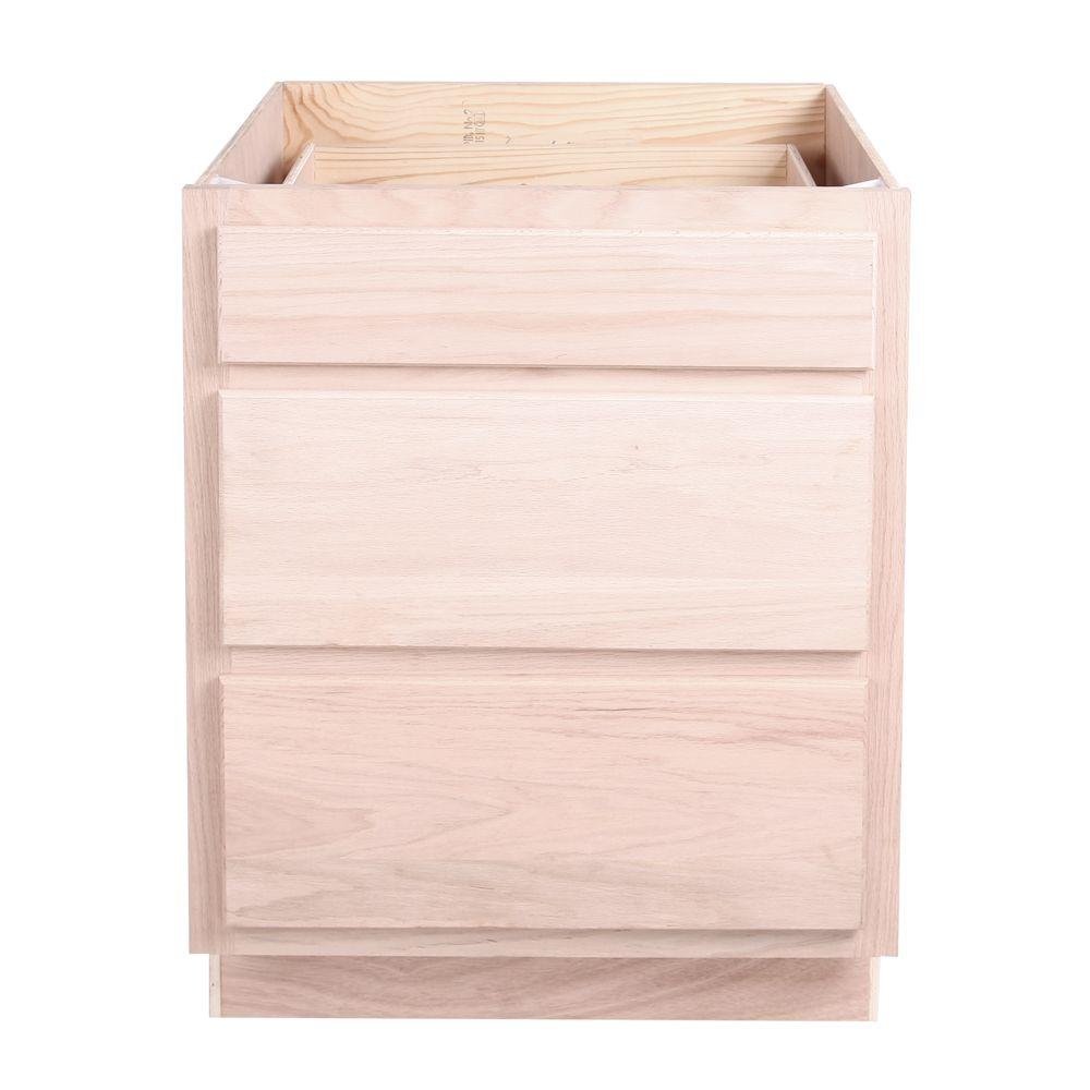 """Kitchen Drawer Base Cabinet   Unfinished Oak   27""""   3 ..."""