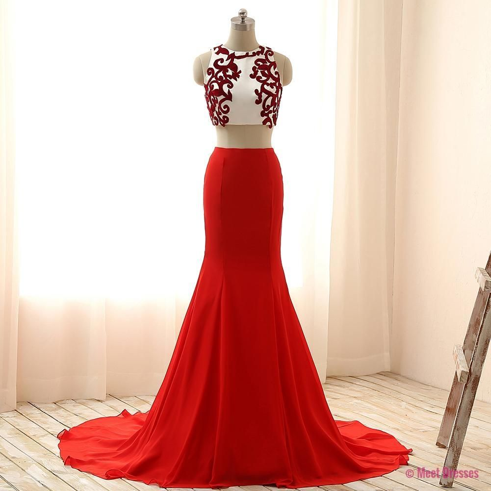 2 Piece Prom Gown,Two Piece Prom Dresses,Red Evening Gowns,2 Pieces ...