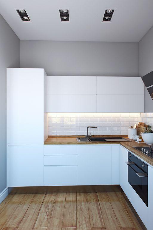 Белая кухня + деревянная столешница под ламинат + глянцевый черный ...