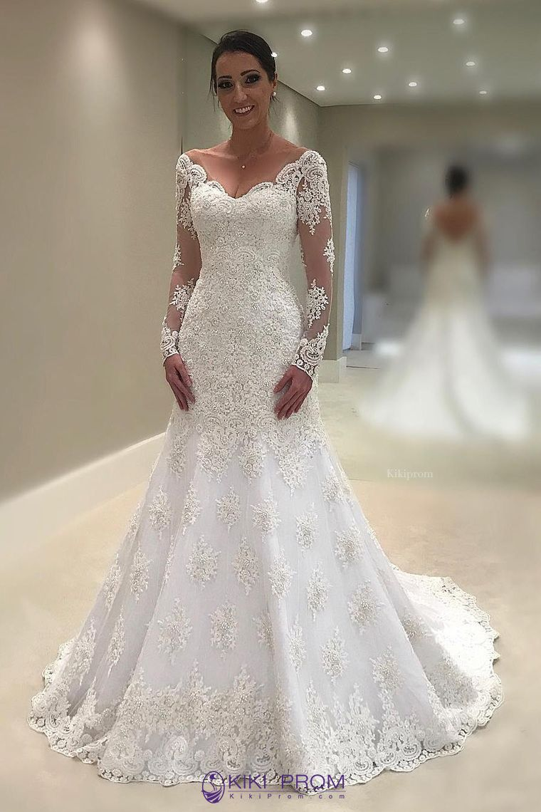 mermaidtrumpet wedding dresses v neck long sleeves tulle with