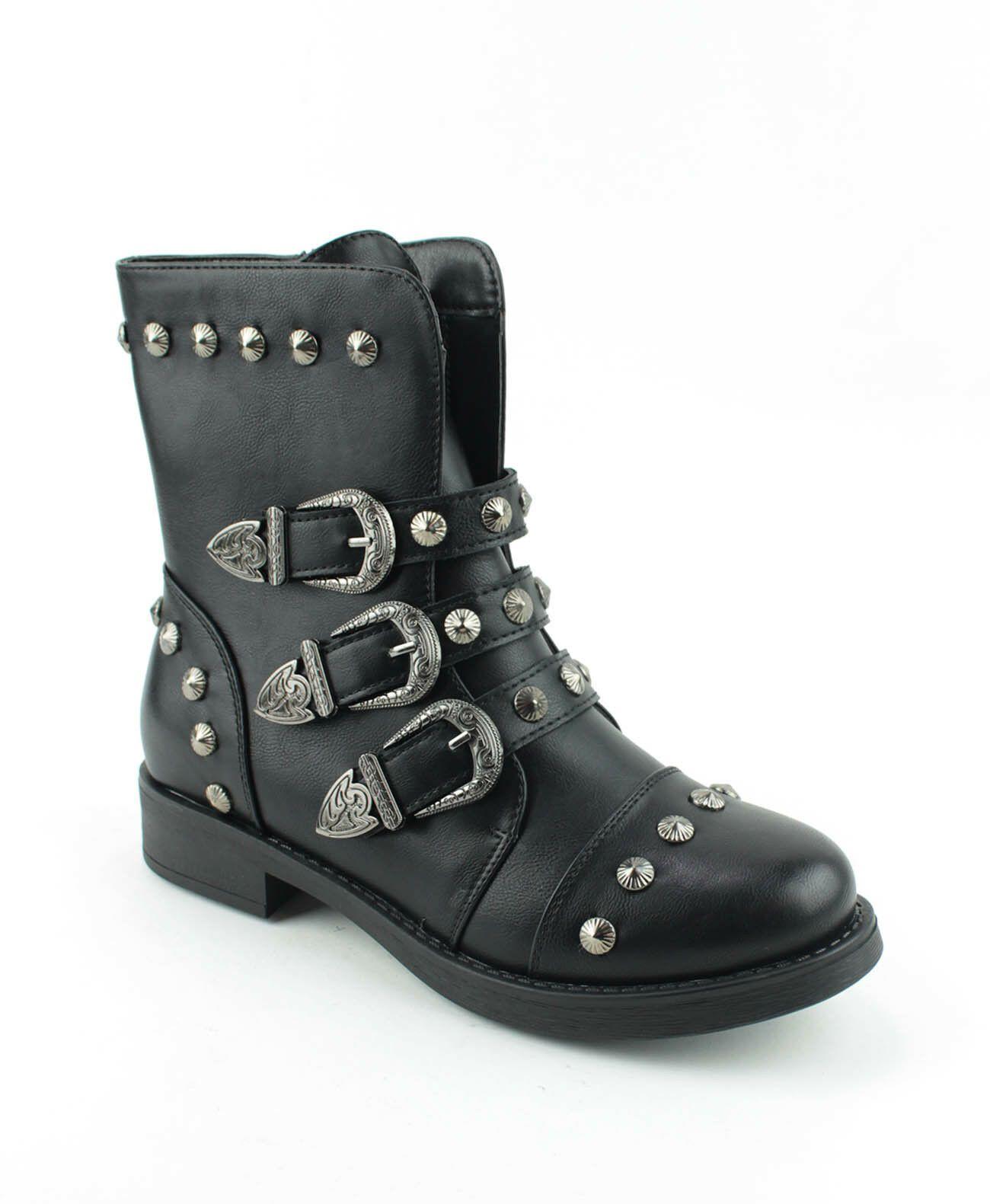 Femmes Bottines Bottes Motard Plat Chaussures D/'Hiver Rivets pour Dames