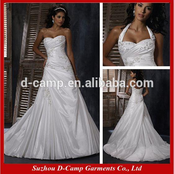 Wd 799 Fancy Asymmetrical Ruching Bodice Detachable Halter Strap Civil Wedding Dress Patterns Free Photo