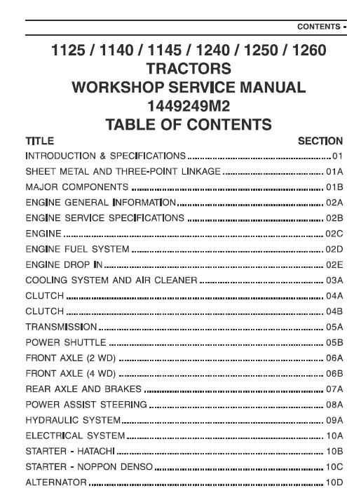 Massey Ferguson 1125 1140 1145 1240 1250 1260 Tractors Workshop Manual Massey Ferguson Ferguson Tractors