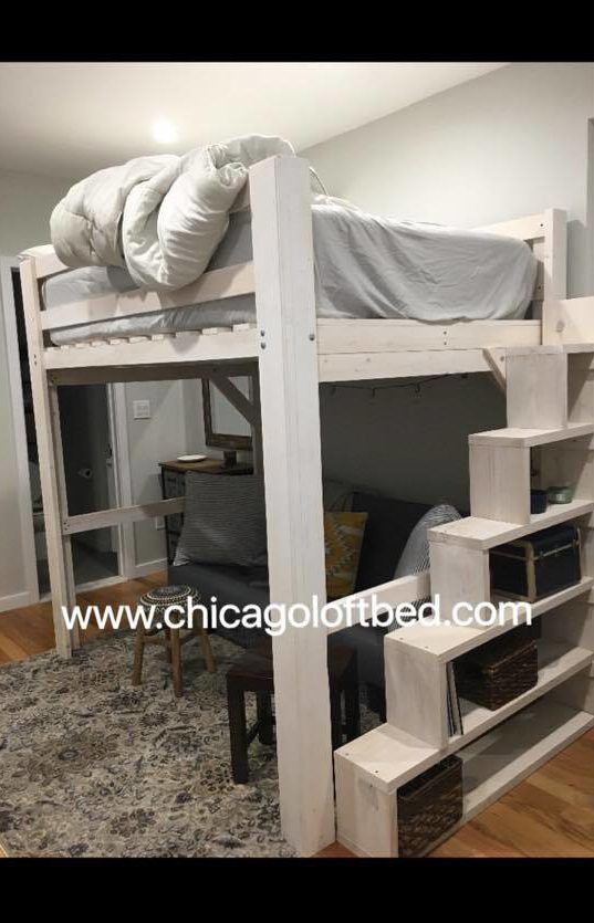 Queen Loft White Wash Shelf Steps Any Height Clearance Chicago Loft Bed Collegeapartmentbedroomsloft College Loft Bed Plans Adult Loft Bed Diy Loft Bed