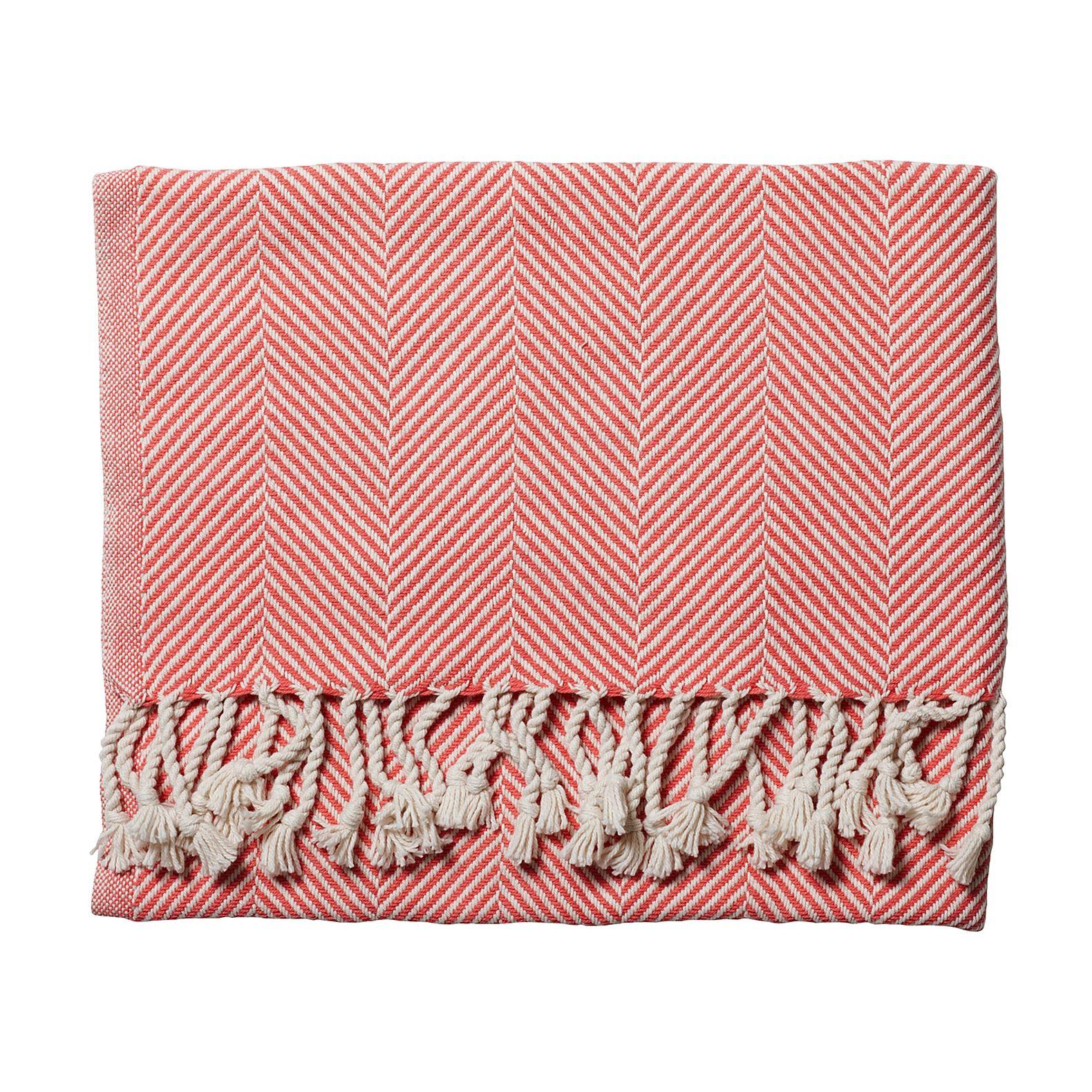 Herringbone Throw – Coral