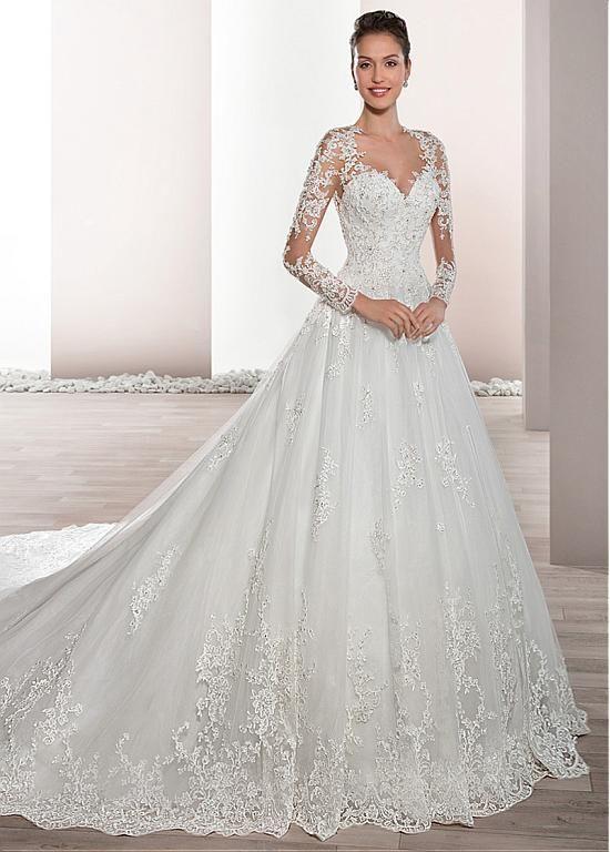 comprar Junoesque Tulle Sheer Jewel Neckline Una línea de vestido de ...