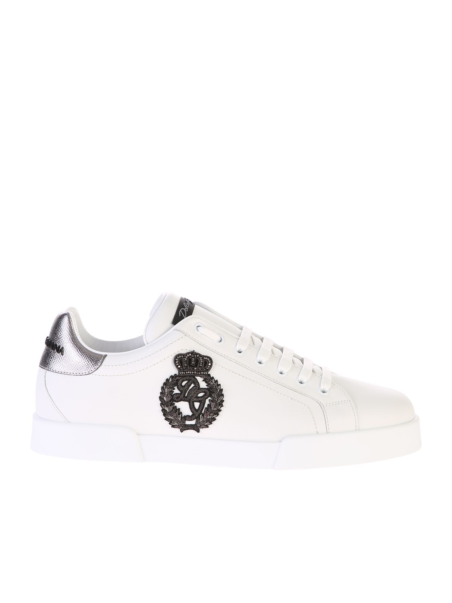 1b3721bfaf695 DOLCE   GABBANA EMBROIDERED LEATHER SNEAKERS.  dolcegabbana  shoes ...