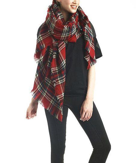 Red Plaid Wool-Blend Scarf