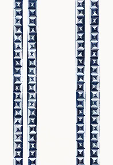 #Schumacher Greek Key Stripe Wallcovering 5005361 Navy; Teen Boy's Bathroom