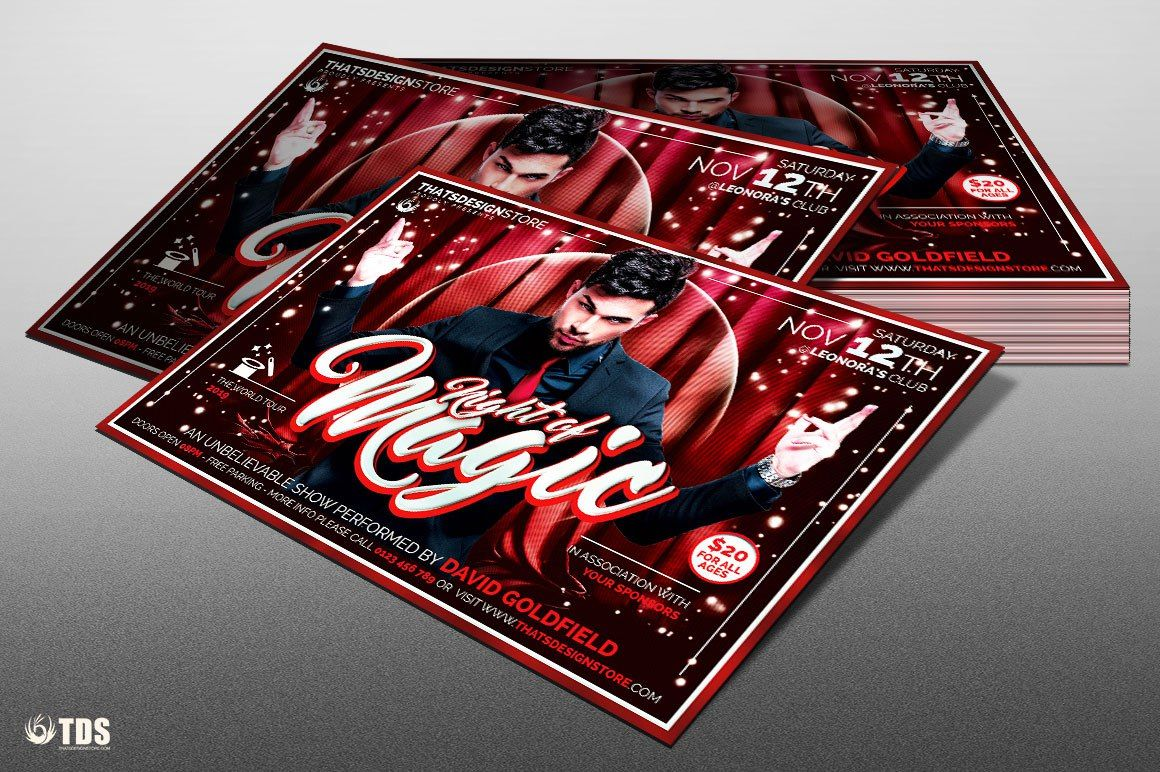 Magic performer flyer template psd design for
