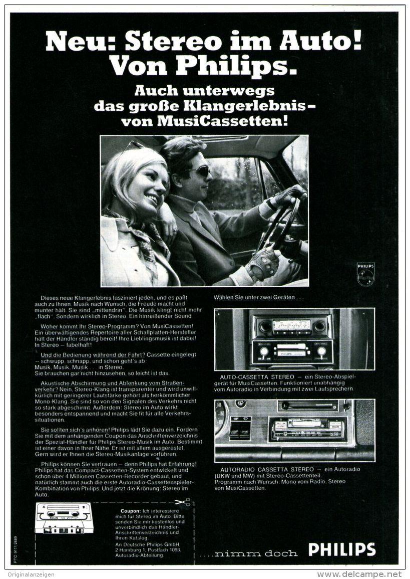 Original-Werbung/ Anzeige 1969 - PHILIPS STEREO AUTORADIO MIT ...
