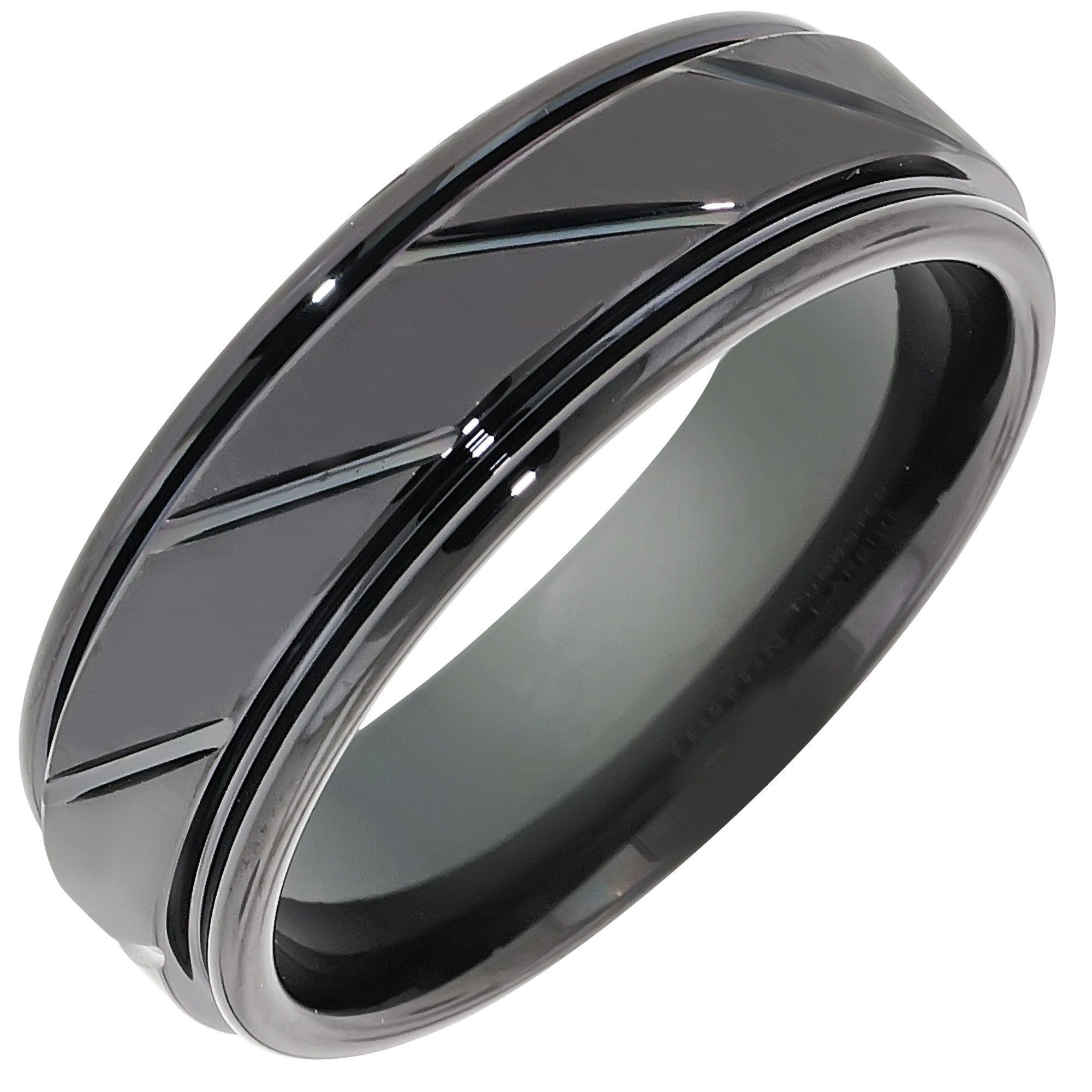 Triton Mens Comfort Fit Wedding Band in Black Tungsten