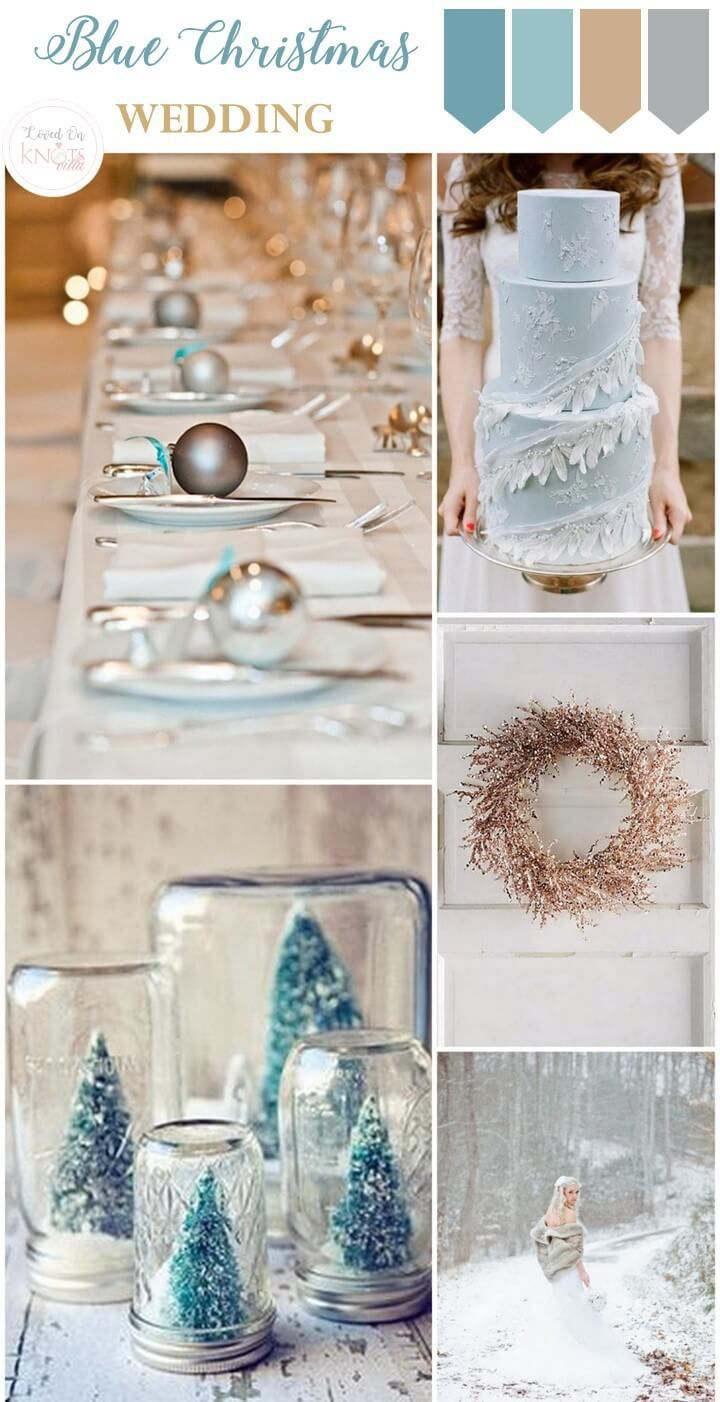Blue themed wedding decor  Christmas Wedding Inspiration  Christmas wedding Wedding and