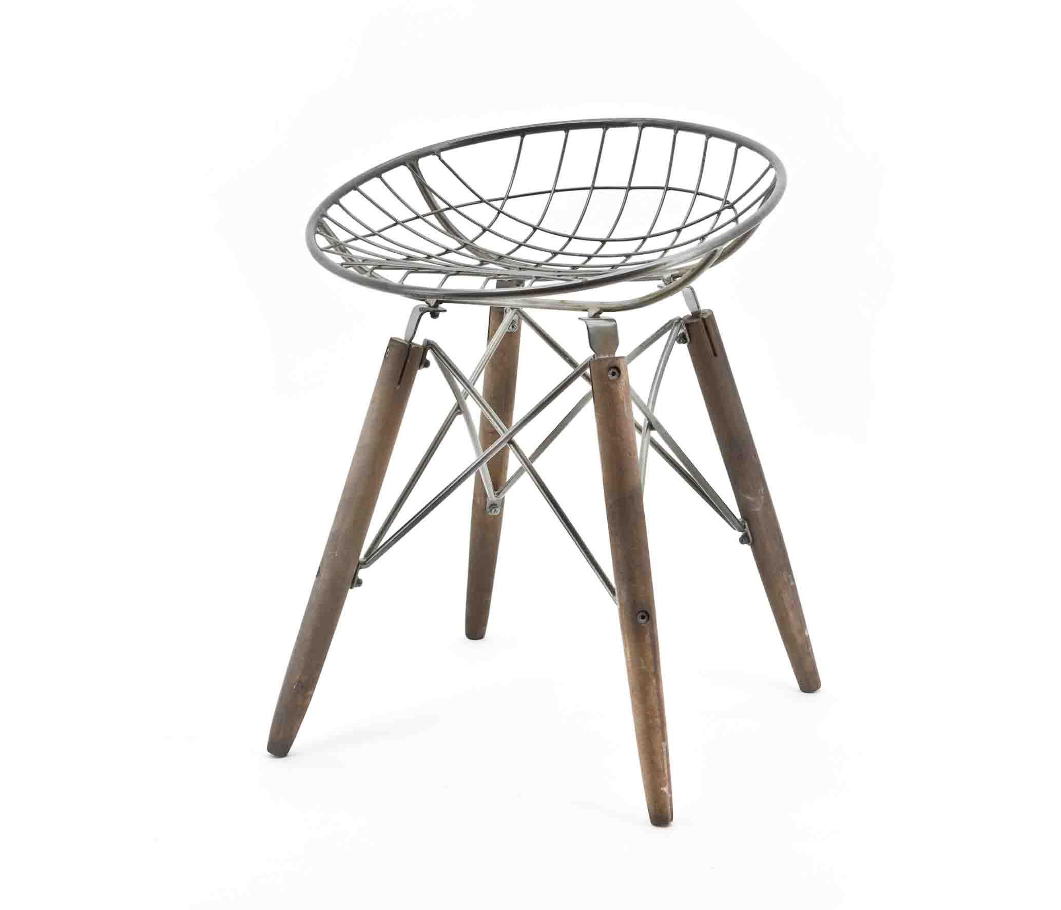 Industrie Design Sitzhocker Hocker Stuhl WIRE Rund Vintage Holz Metall NEU  In Möbel U0026 Wohnen, Möbel, Stühle