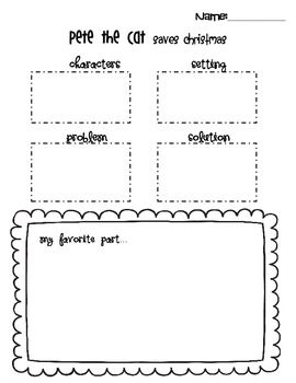 Pete The Cat Saves Christmas Simple Graphic Organizer School
