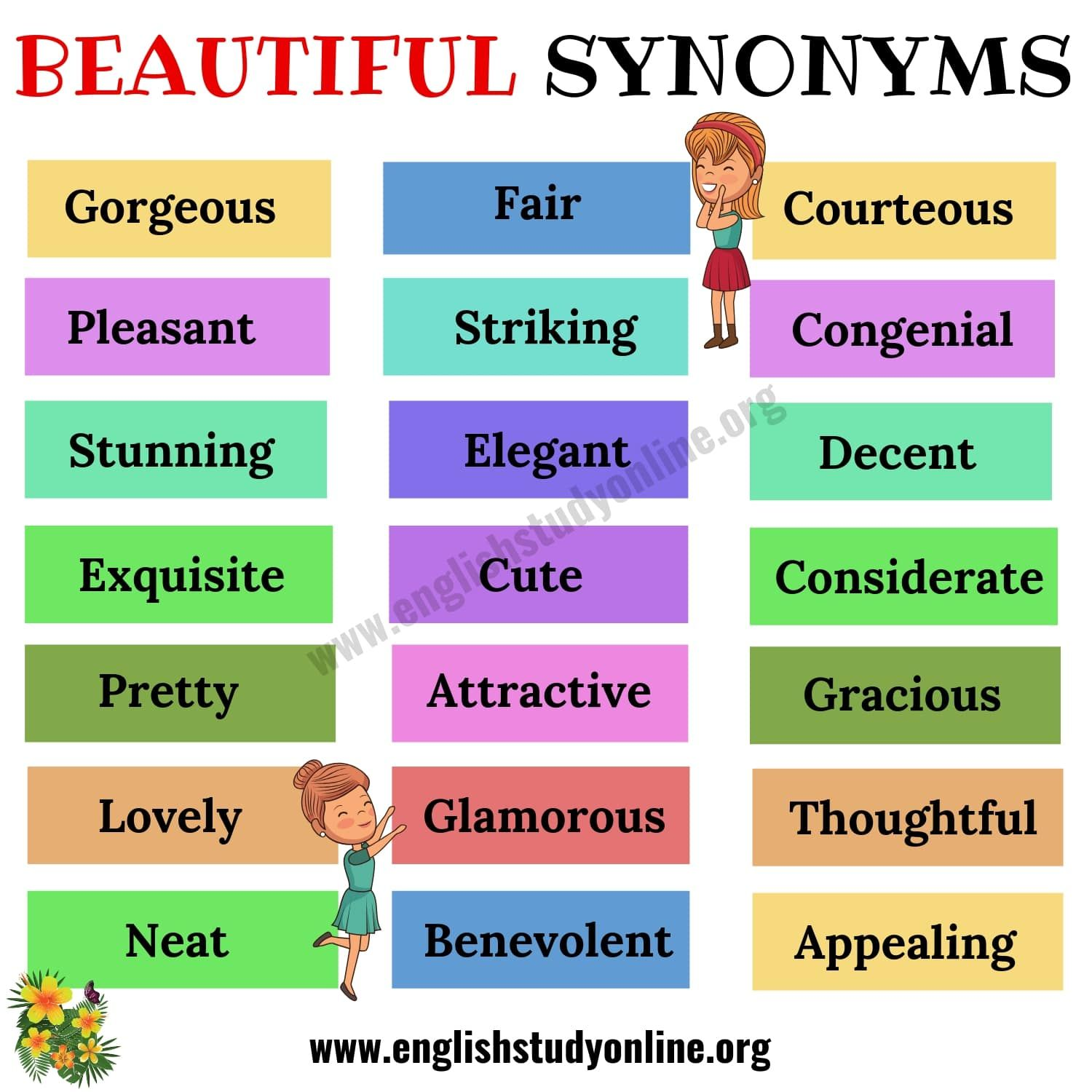 Beautiful Synonyms List Of 30 Helpful Synonyms For Beautiful English Study Online Writing Words Learn English Words Overused Words