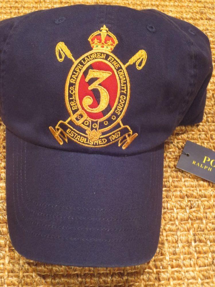 POLO RALPH LAUREN MENS GOLD CREST BASEBALL CAP NAVY BLUE NEW   PoloRalphLauren  BaseballCap 0aa735c5a5a0