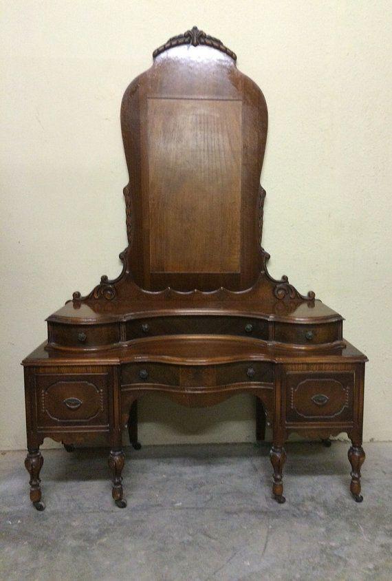 Stunning Antique Victorian Mahogany Vanity Dresser Solid Wood