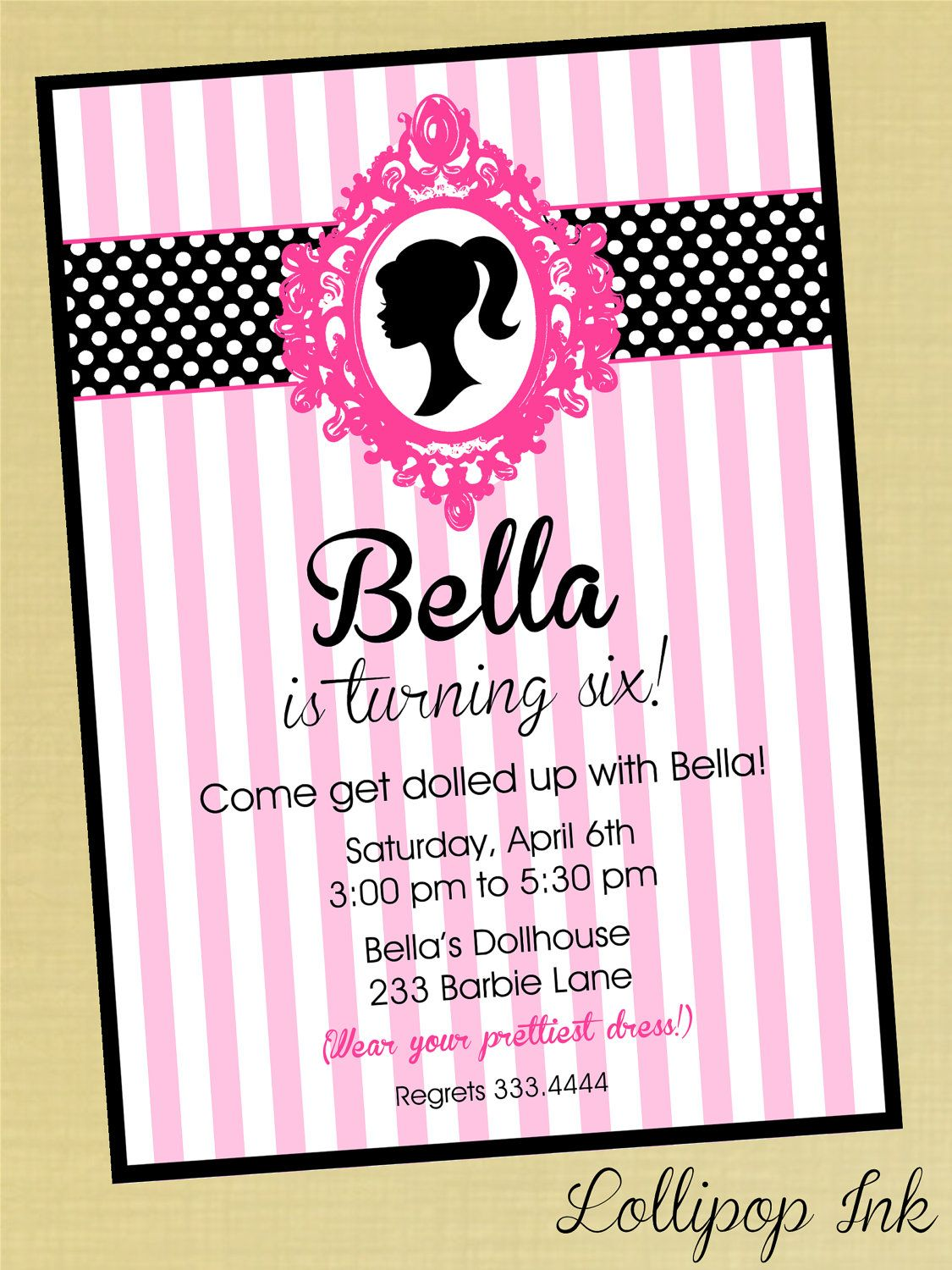 Barbie Silhouette Printable Birthday Invitation by LollipopInk | B ...