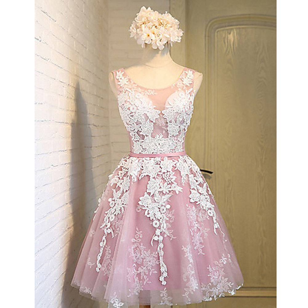 2016 White Appliques Maid of Honer Scoop Tank wedding Guest dress ...